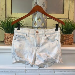 AEO Tie Dye High Rise Shortie Shorts Distressed 10
